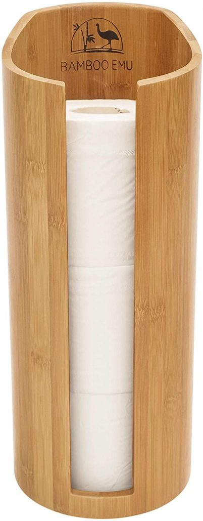 Bamboo free-standing toilet paper roll holder by Bamboo Emu.