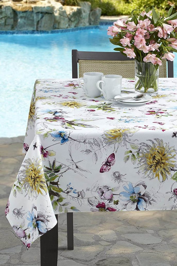 Indoor and outdoor spill-proof spring tablecloth by Benson Mills.
