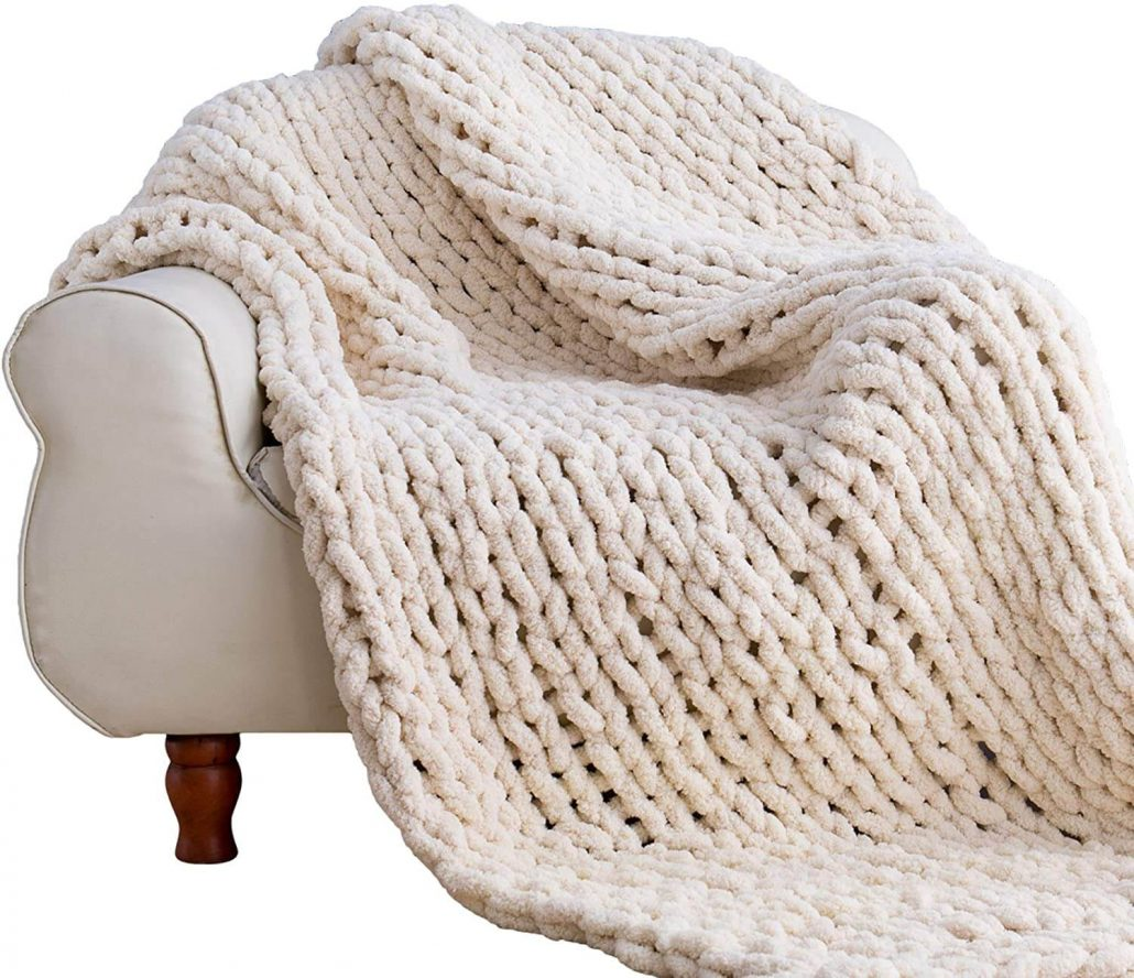 Cozy and large knit chenille blanket for home.