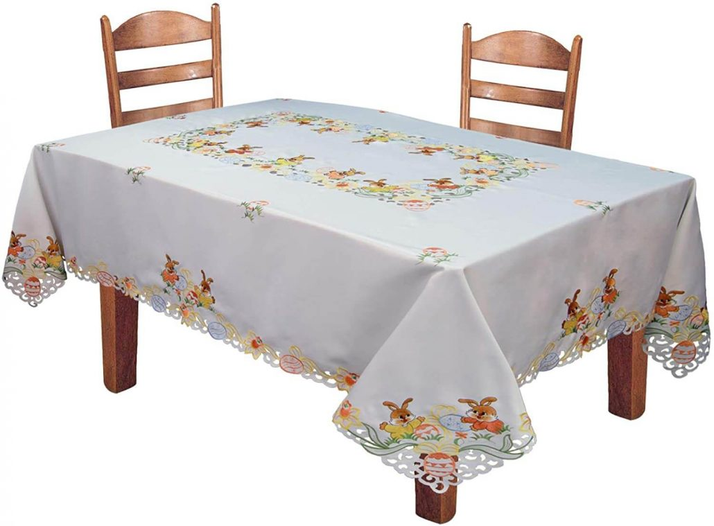 Easter bunny spring tablecloth by Creative Linens.
