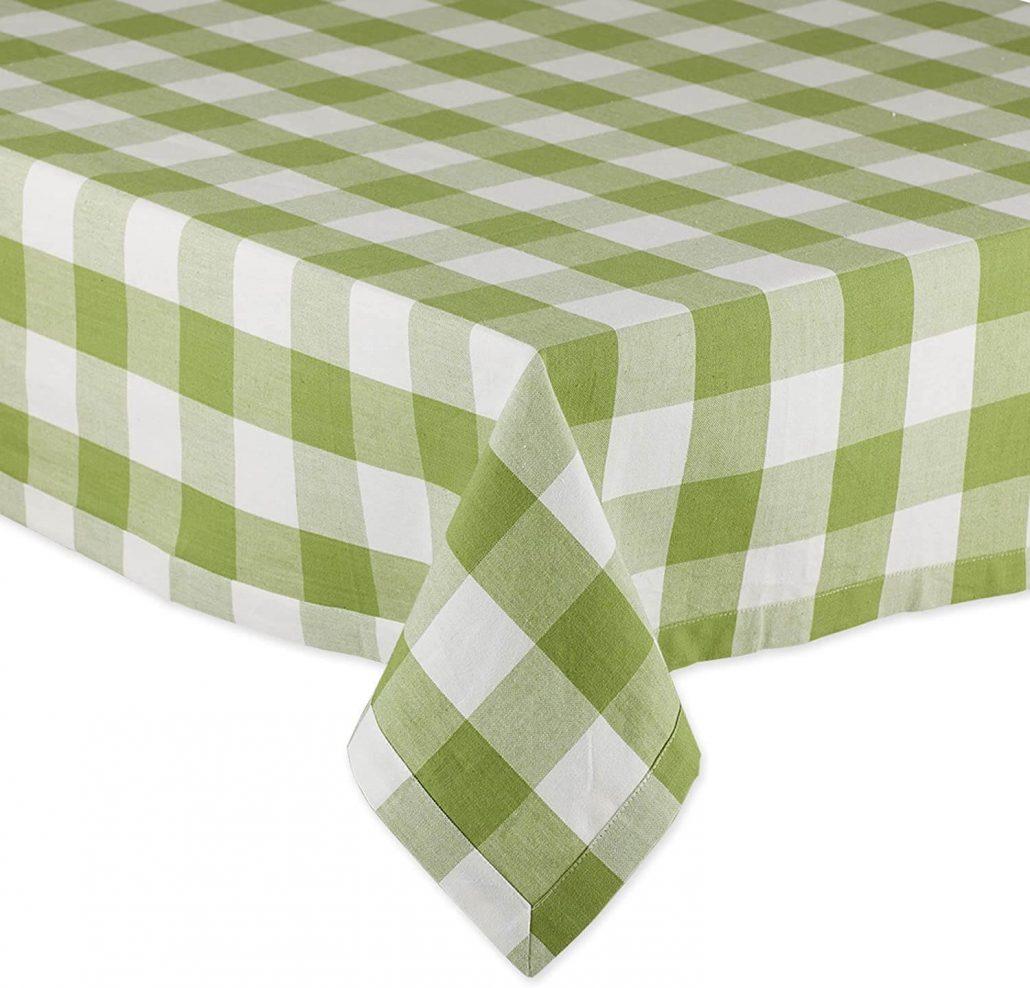 Green buffalo check spring tablecloth by DII.