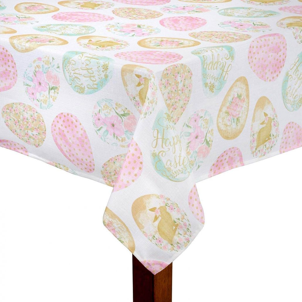 Easter egg spring tablecloth made in polyester.