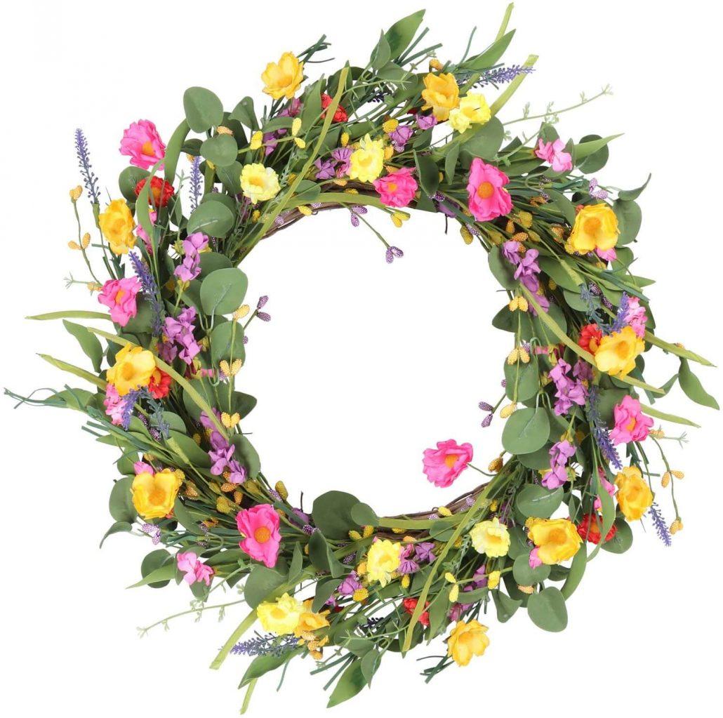 Farmhouse style spring wildflower wreath.