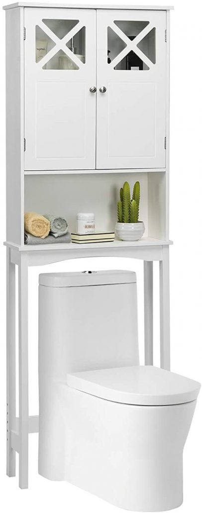 Over-the-toilet bathroom storage shelf with cabinet by Giantex.