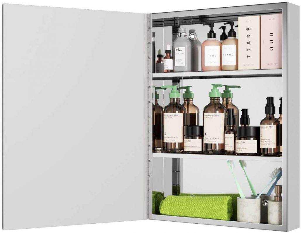 Stainless steel mirrored bathroom cabinet by Homfa.