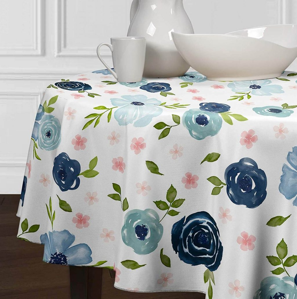 LuxeHome colorful floral watercolor spring tablecloth.