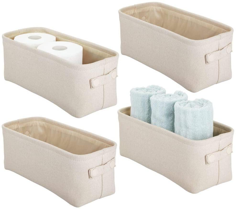 Fabric bathroom storage bins with handles by mdesign.