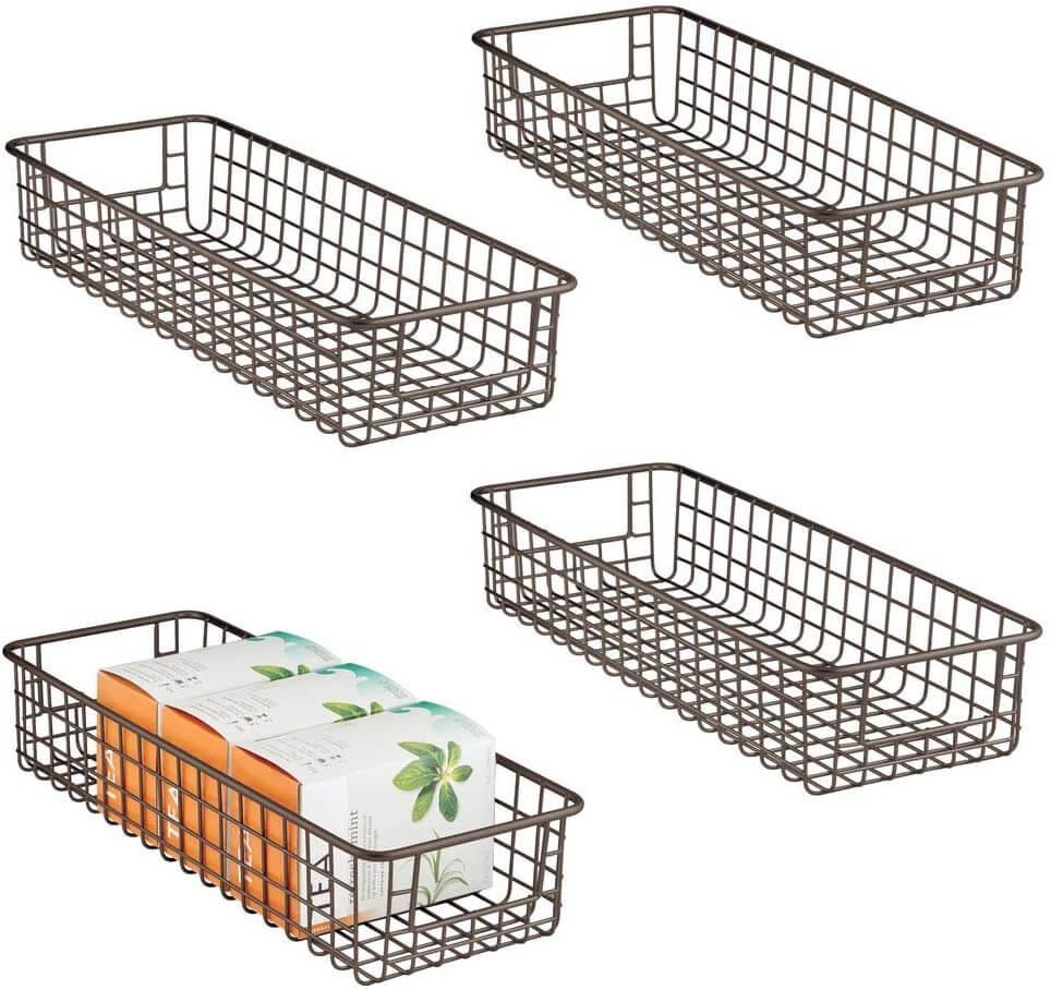 Farmhouse decor by mdesign metal wire storage baskets.