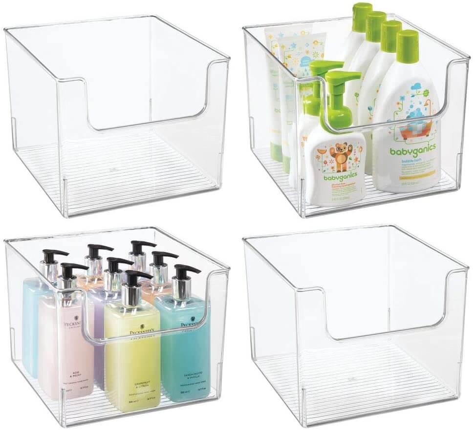 Shatter-resistant plastic bathroom storage bins by mdesign.