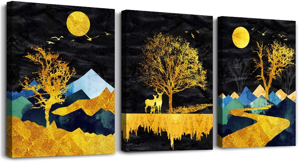 Modern abstract canvas wall prints set of three.