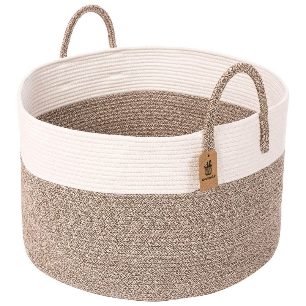 Modern natural dog toy storage basket.