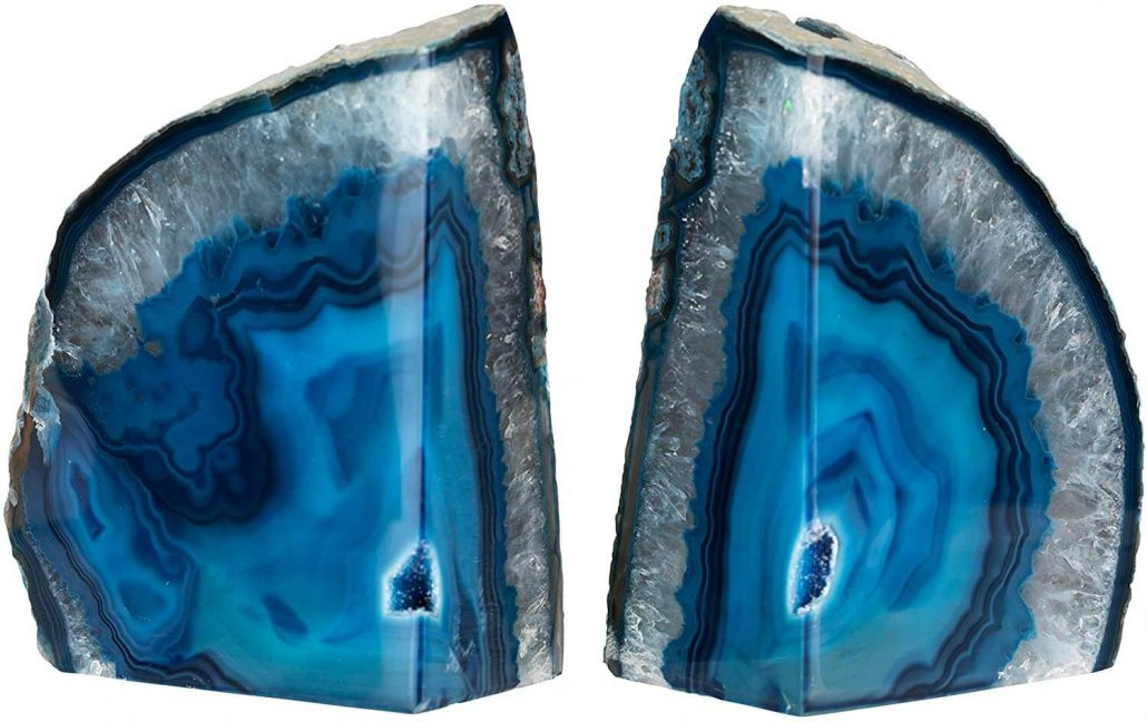 Blue geode bookends for home office made from real agate stone.