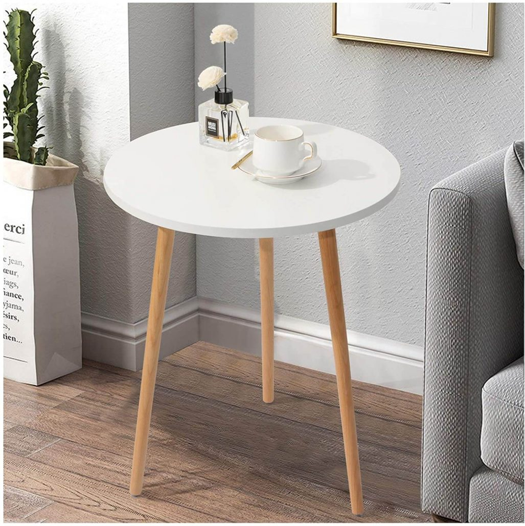 Small round white modern side end table for home.