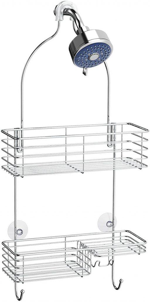 Hanging bathroom shower head caddy for bathroom storage.