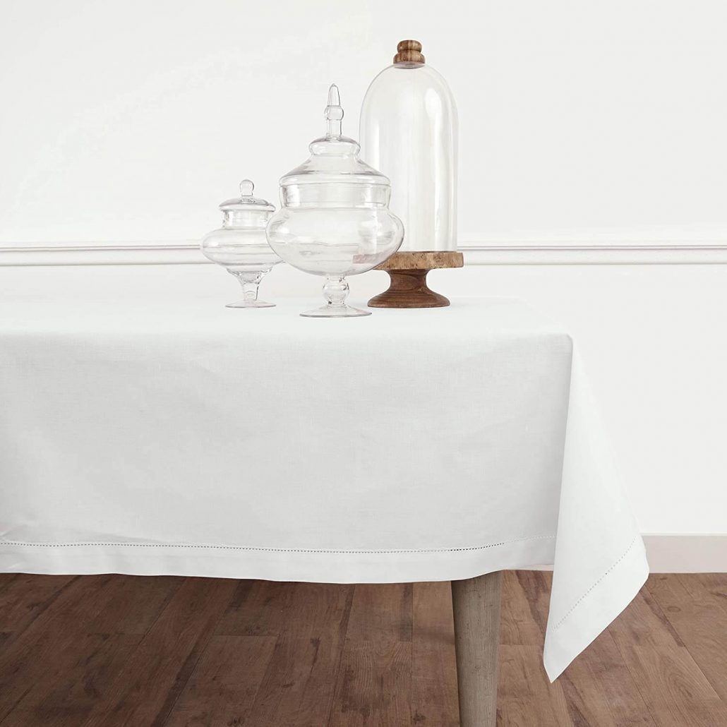 Simple and modern white cotton linen spring tablecloth by Solino.