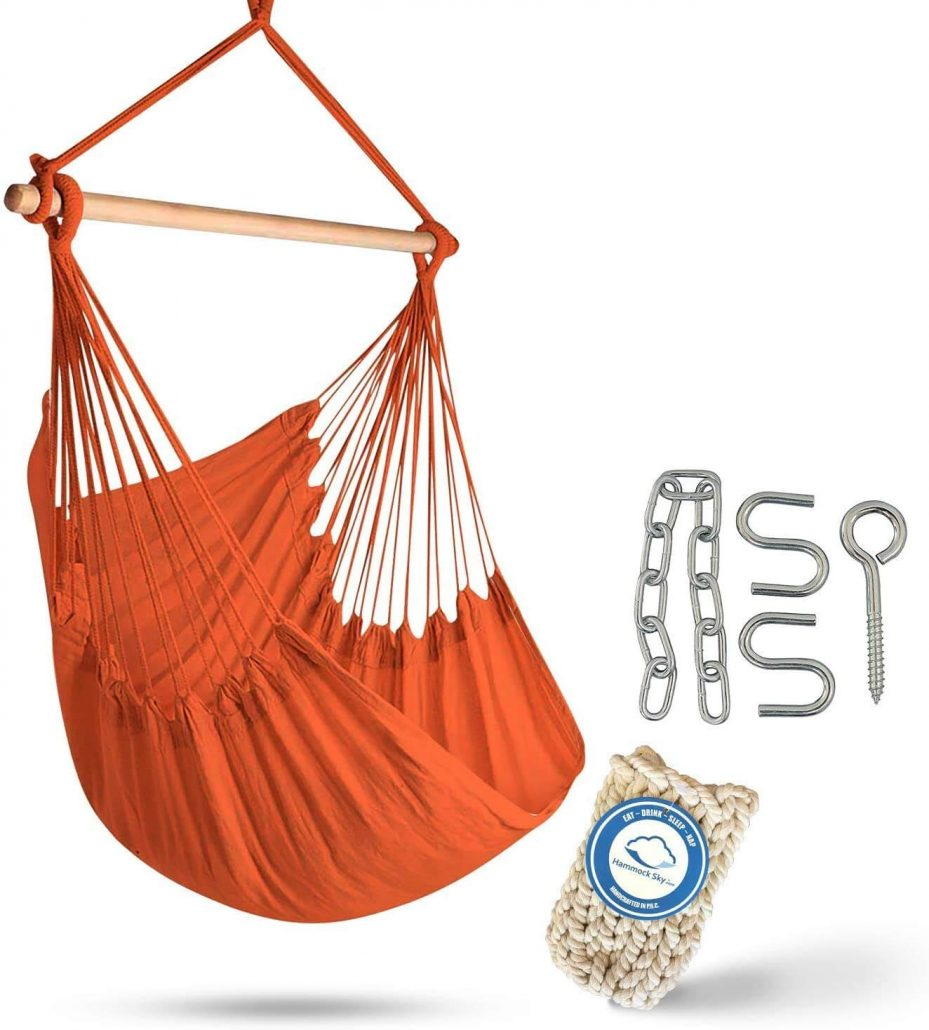 Extra large hammock chair swing in the color peach echo.