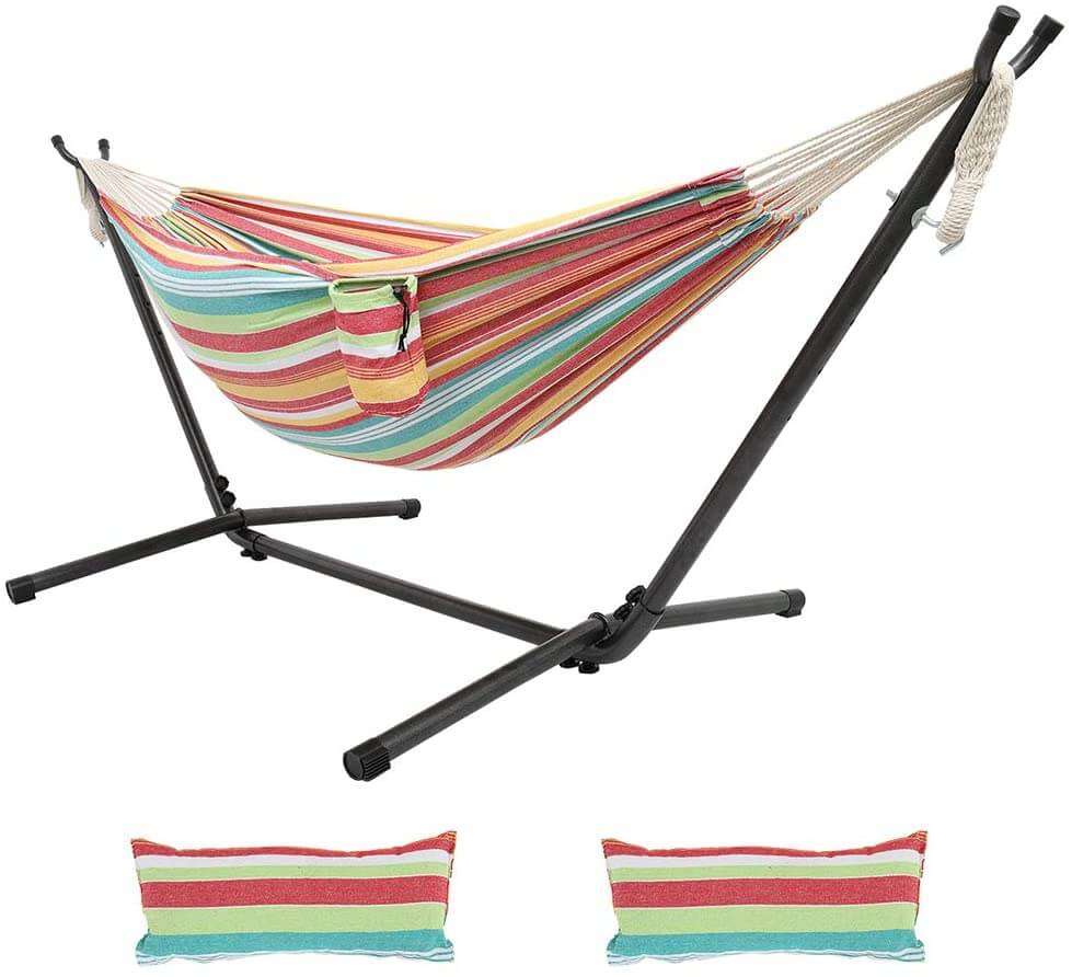 Colorful double hammock with stand, pillows, and cup holder by Oncloud.