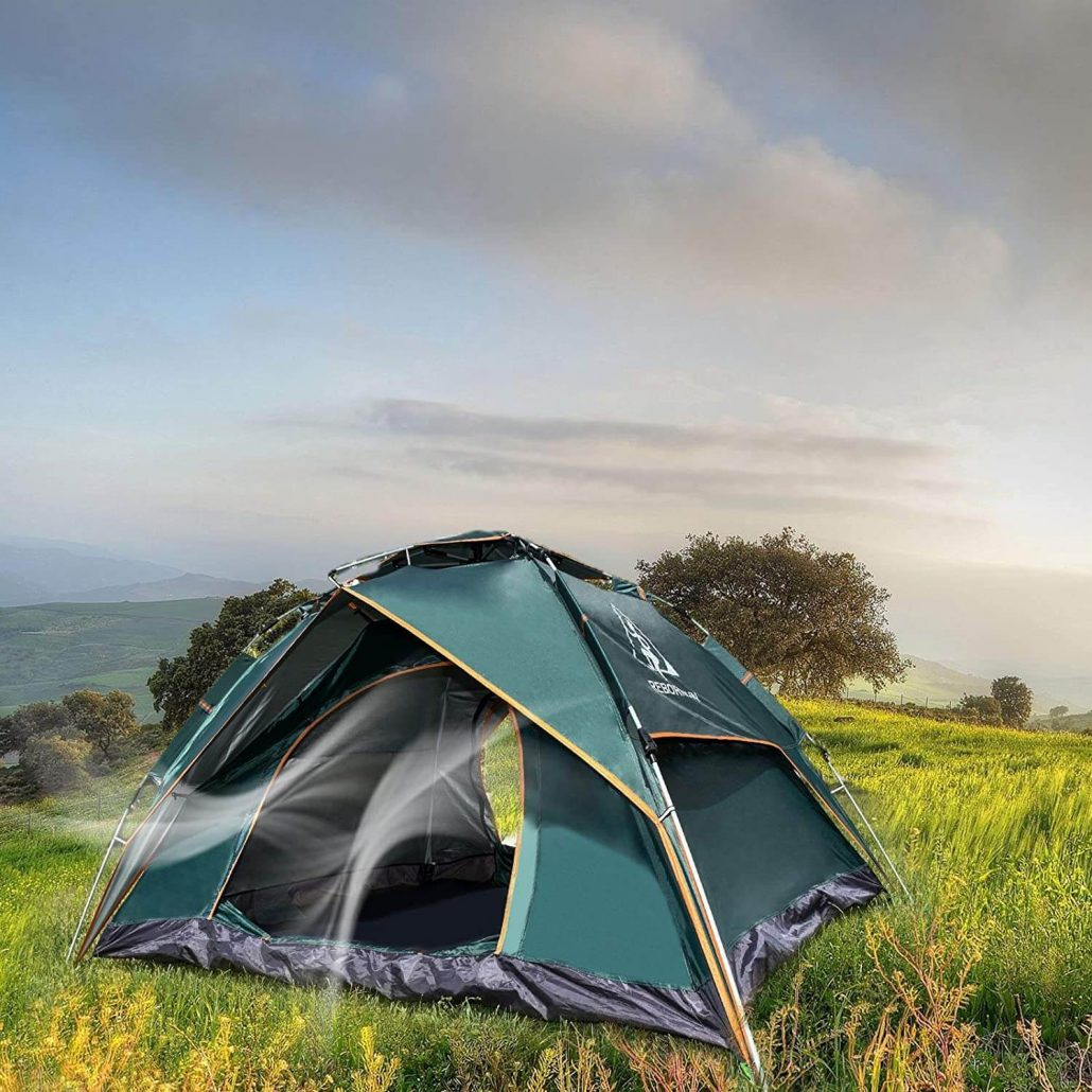 Rebornsun family outdoor camping tent with water-resistant fabric.