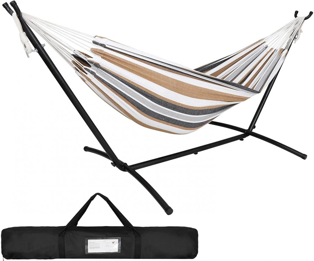 2-person portable Brazilian hammock with stand and carrying case by Super Deal.