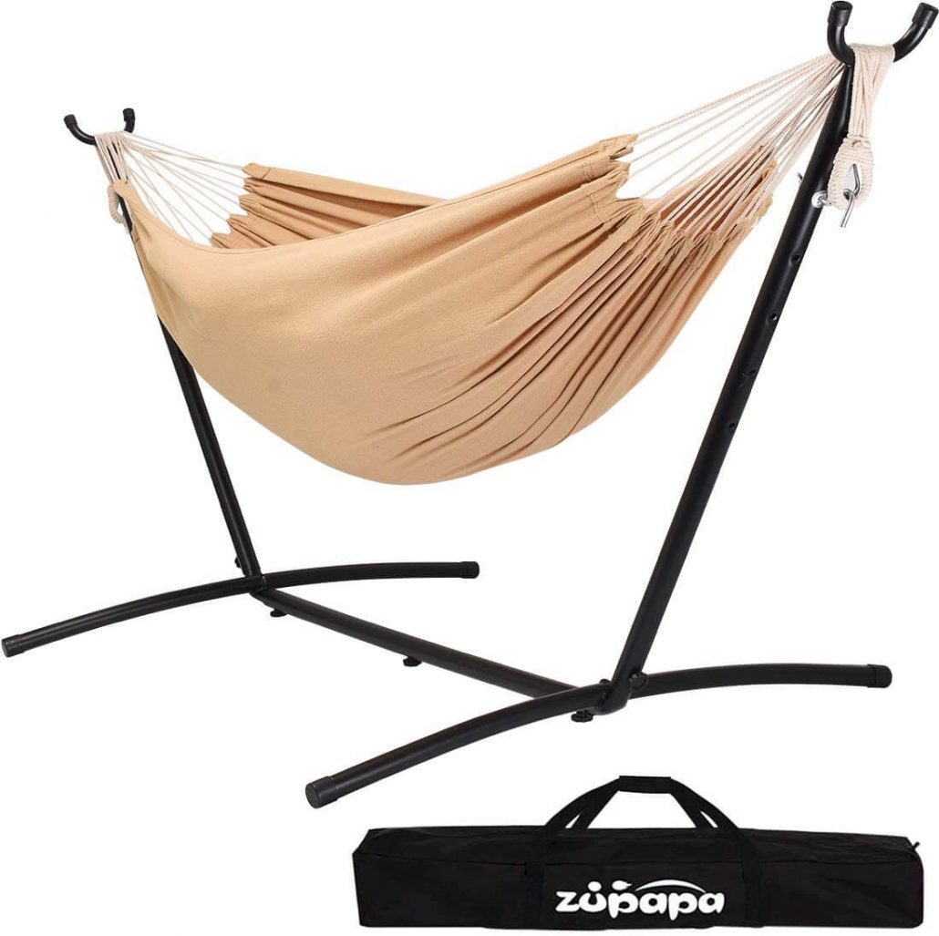 Double hammock with stand and carrying case by Zupapa.