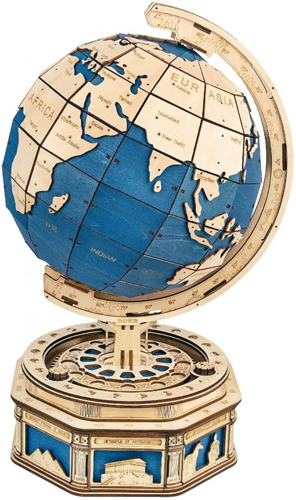 3D wooden puzzle Earth globe for kids.