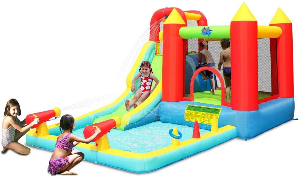 Action Air bounce house backyard water toy for kids with slide.