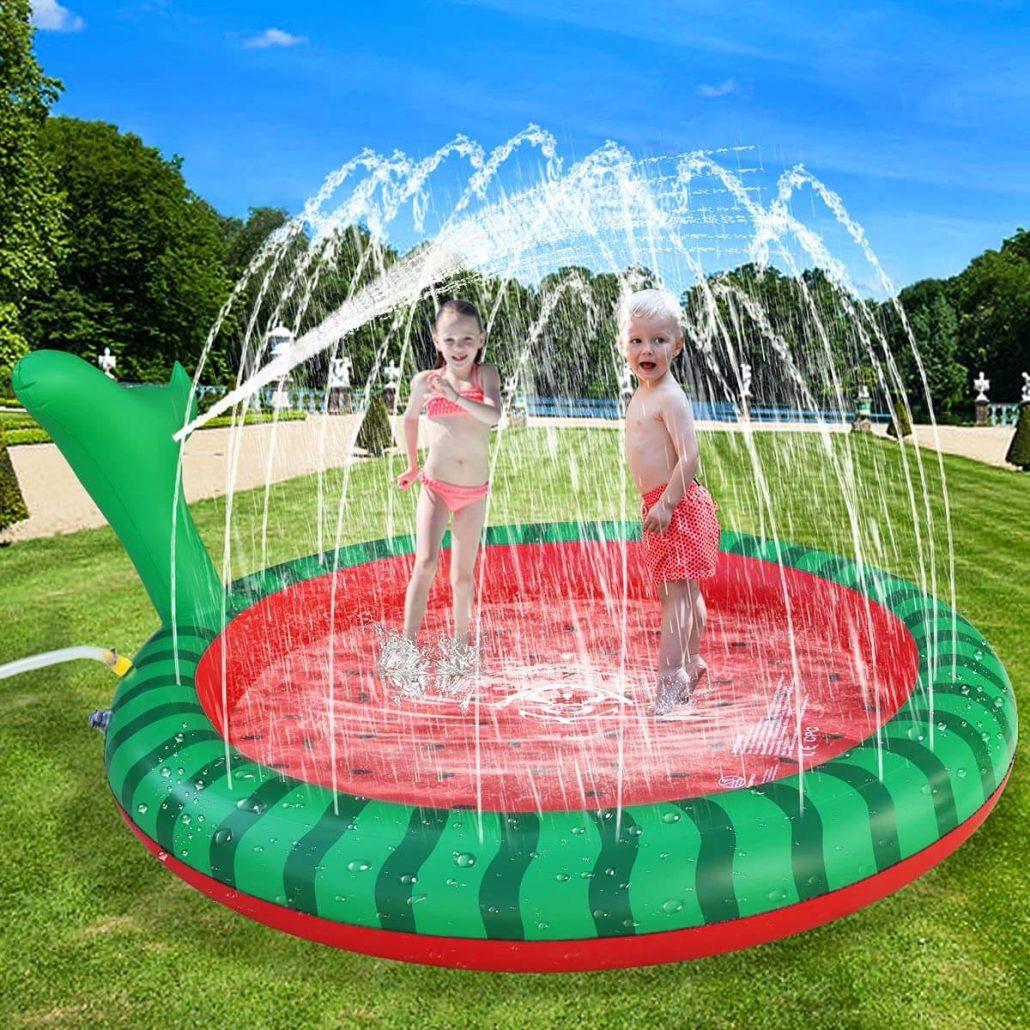 Apfity splash pad sprinkler water toy for kids.
