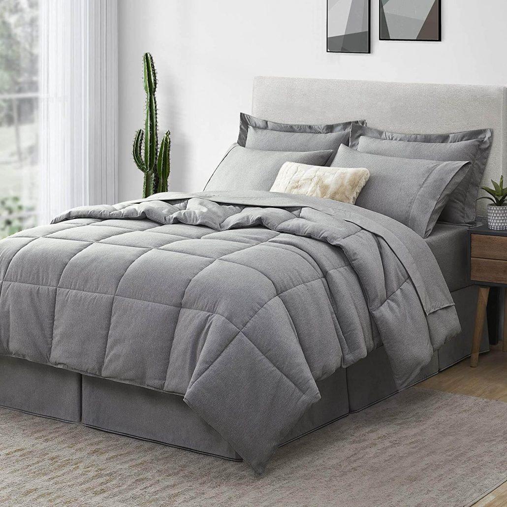 Modern bed in a bag gray comforter set.