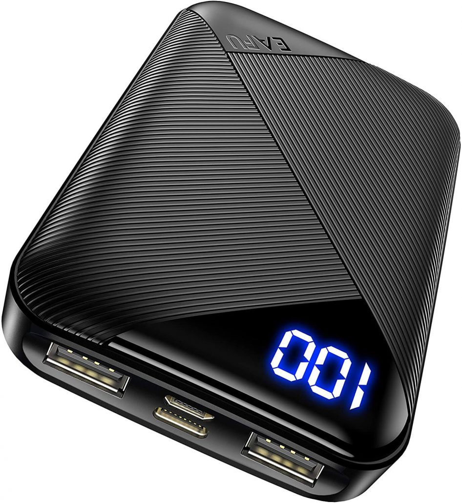 Compact portable charger with flashlight.