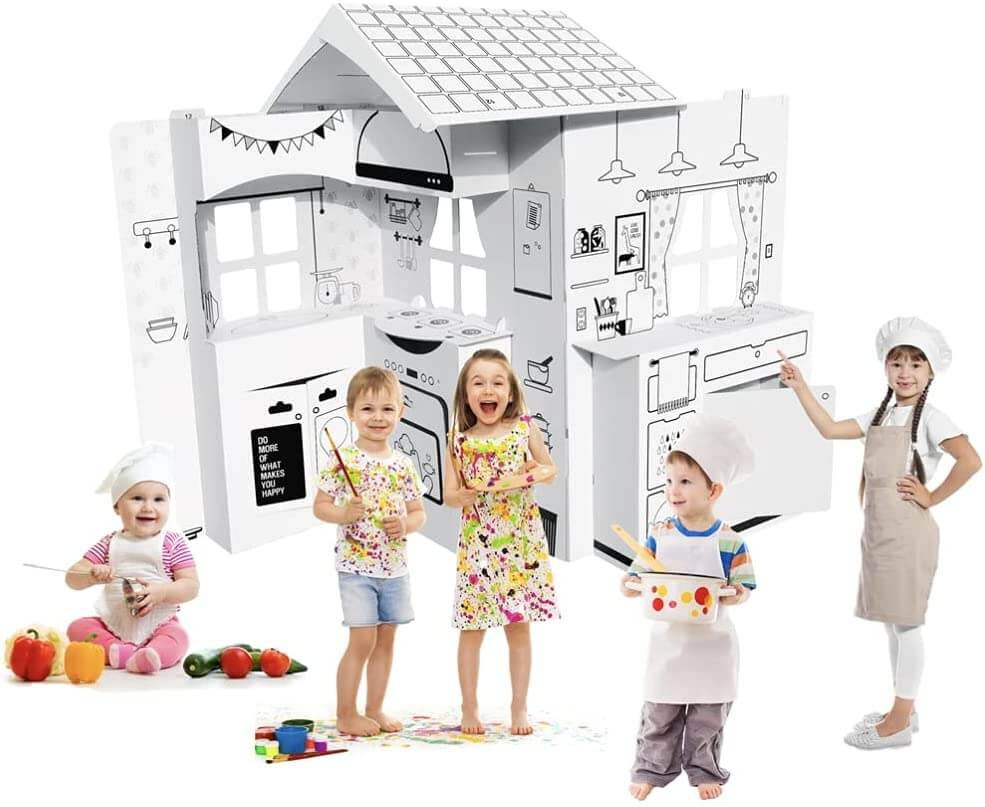 DIY cardboard playhouse, build and color playhouse for kids.