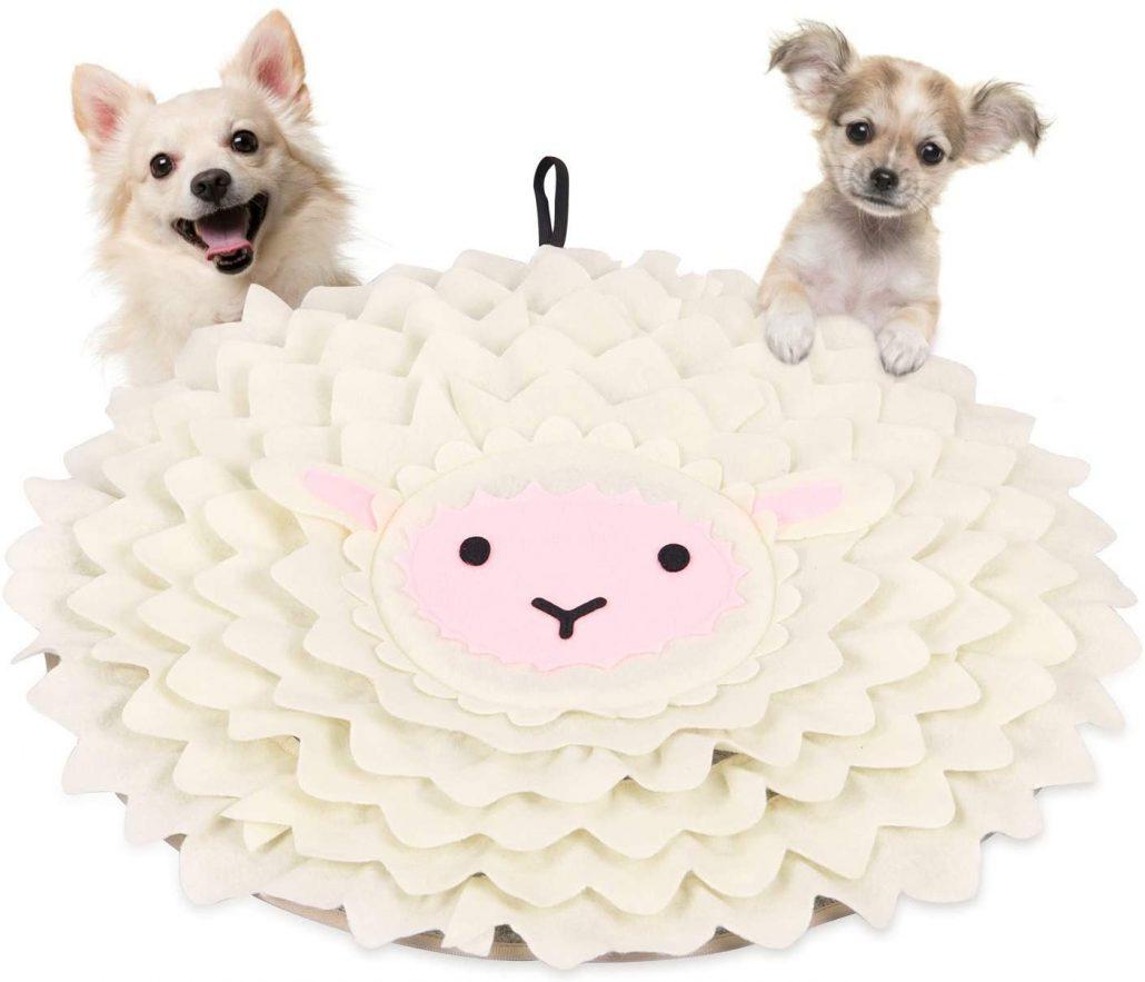 Cute felt dog snuffle mat.