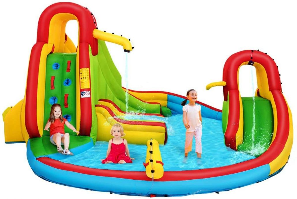 Inflatable bounce house for kids with water pool and slide.