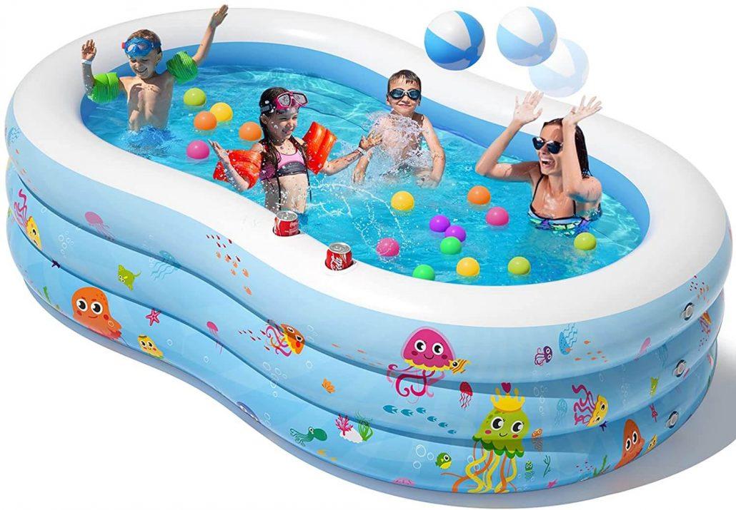 Inflatable kiddie pool backyard water toy for kids.