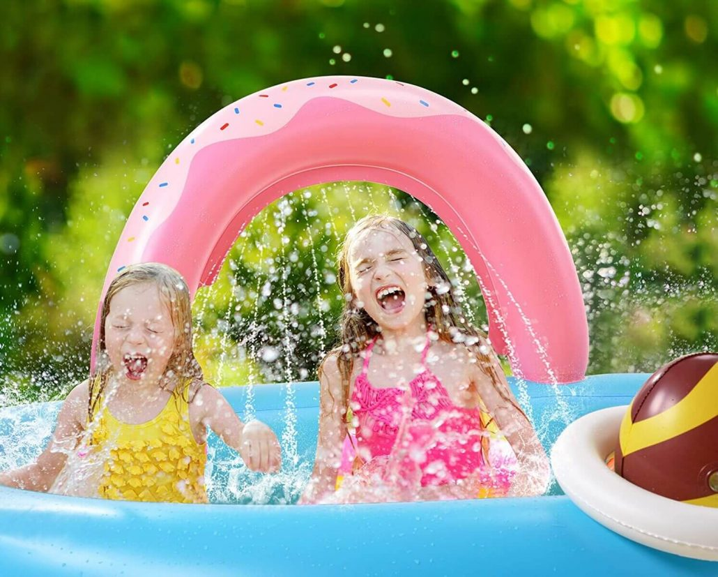 Inflatable water play center for kids.