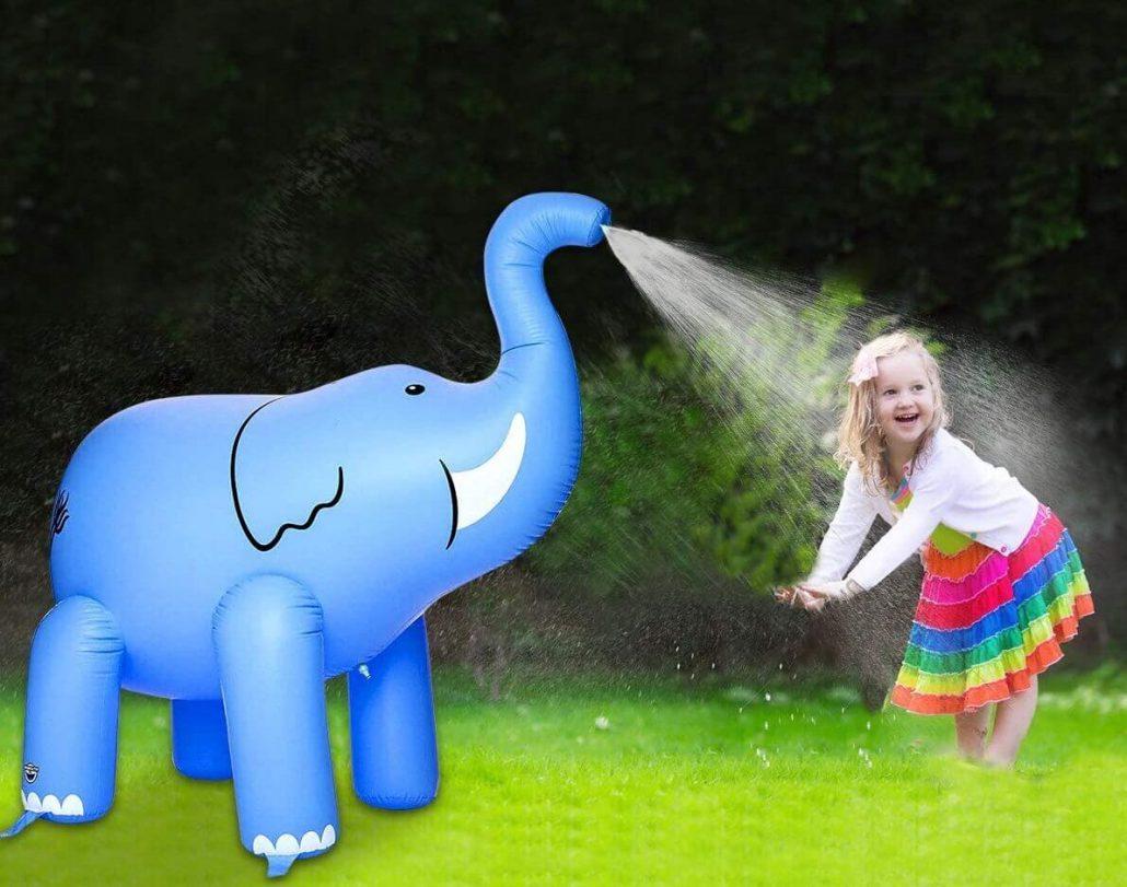 Elephant sprinkler toy for kids backyard water toy.
