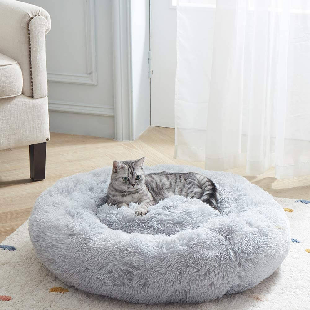 Soft round donut bed modern bed for cats.