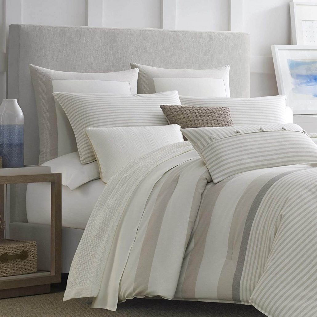 Reversible neutral comforter by Nautica.