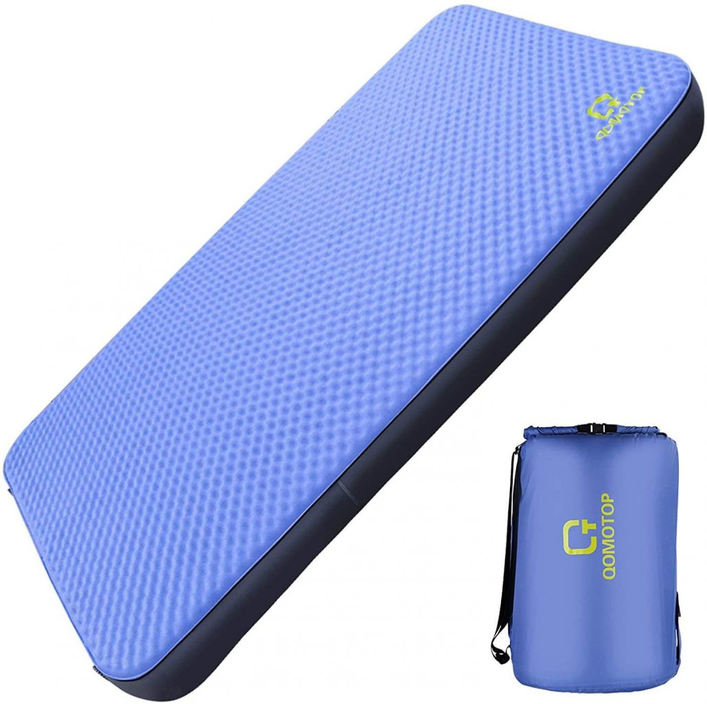 Self-inflating camping air mattress with carrying bag.