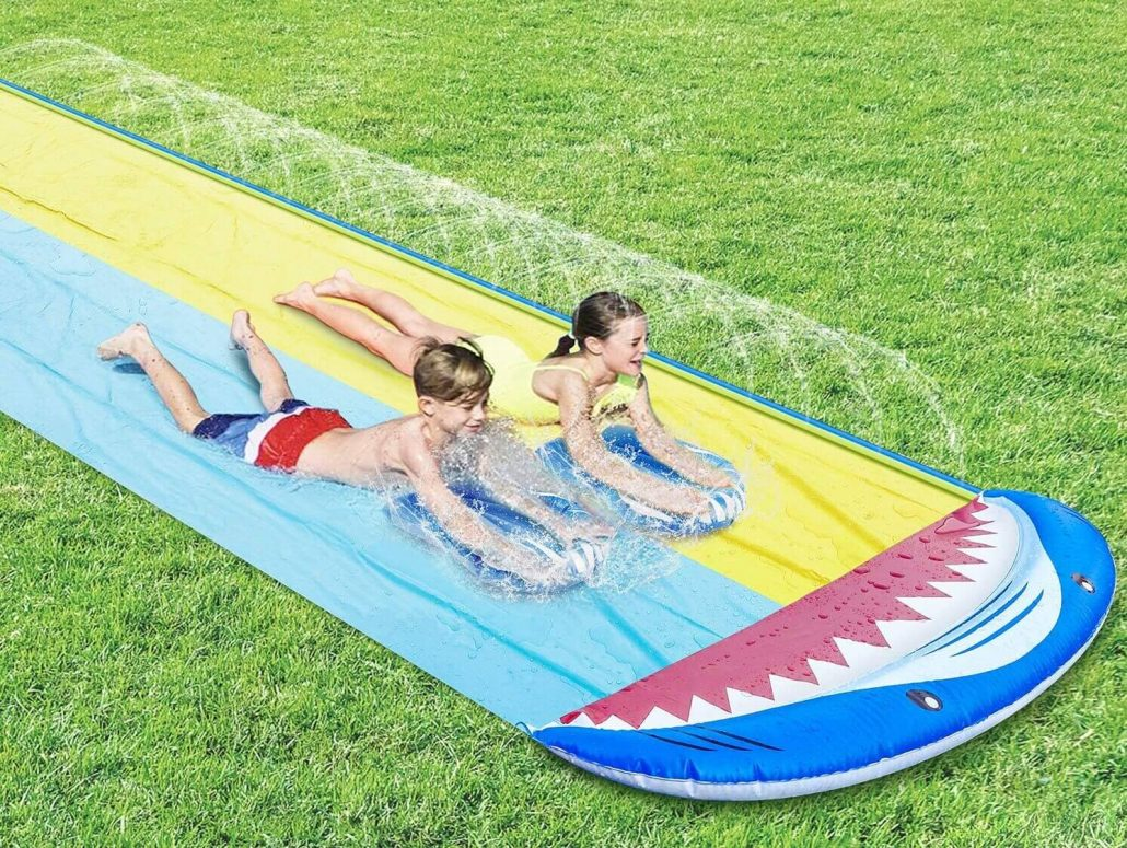 Slip and slide backyard water toy for kids.
