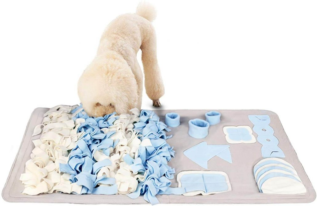 Colorful snuffle mat for dogs.