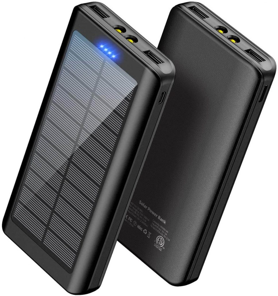 Portable charger with solar powered charging.