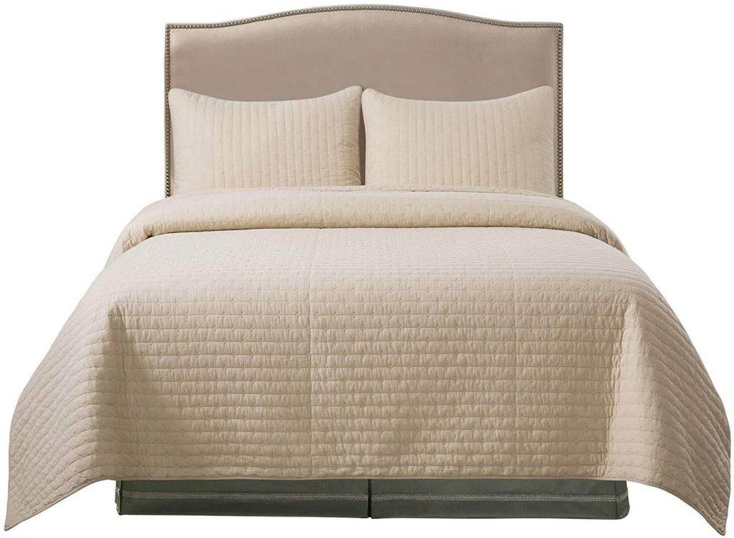 Soul and Lane beige comforter bedding set.