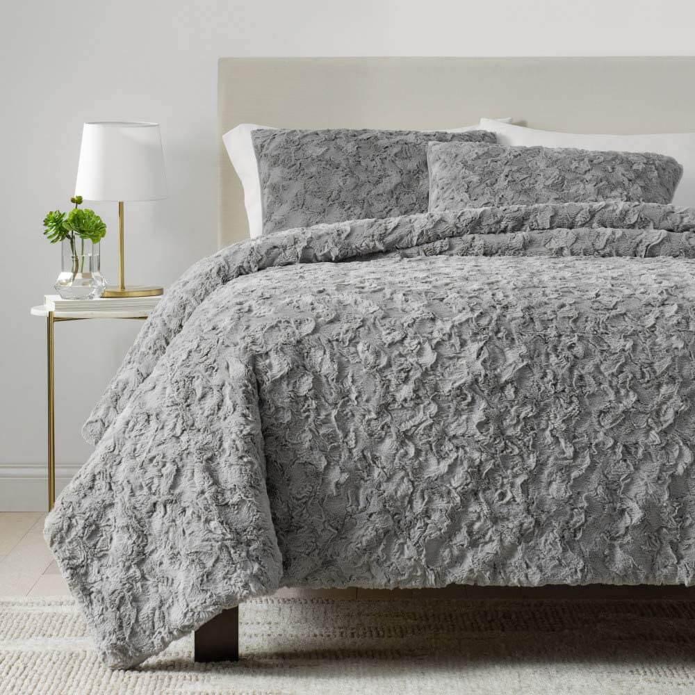 UGG faux fur gray modern comforter set.