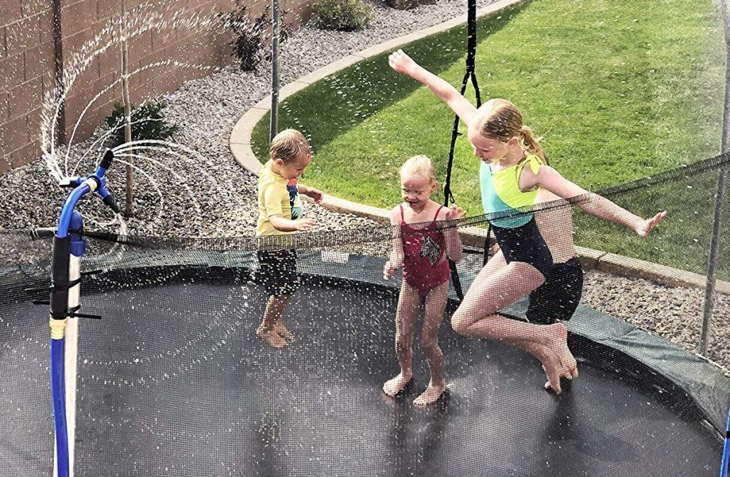 Trampoline water whirl backyard water toy for kids.